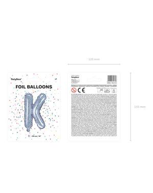 Balão foil letra K prateado com purpurina