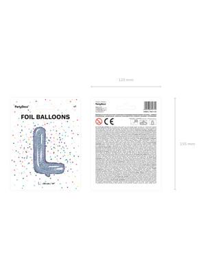 Fóliový balónek ve tvaru písmene L ve třpytivé stříbrné barvě