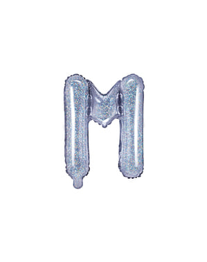 Balão foil letra M prateado com purpurina