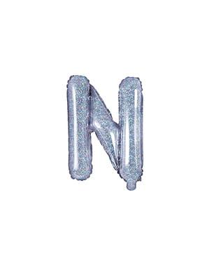 Balon folie litera N argintiu cu sclipici