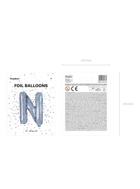 Ballon aluminium lettre N argenté à paillettes
