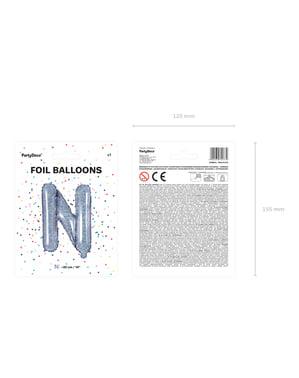 Fóliový balónek ve tvaru písmene N ve třpytivé stříbrné barvě