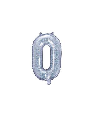Bokstaven O Folieballong i Sølv Glitter