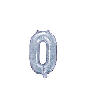 O-kirjaimen muotoinen foliopallo (hopeanvärinen glitter)