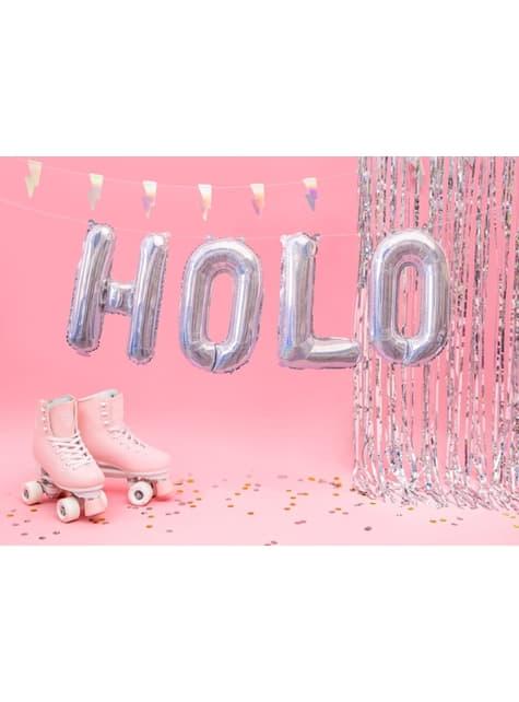 Letter O Foil Balloon in Silver Glitter