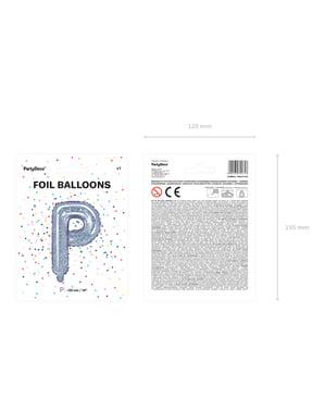 Fóliový balónek ve tvaru písmene P ve třpytivé stříbrné barvě