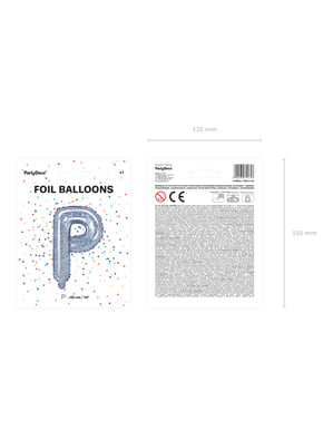 Globo foil letra P plateado con purpurina
