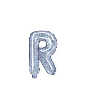 Fóliový balónek ve tvaru písmene R ve třpytivé stříbrné barvě