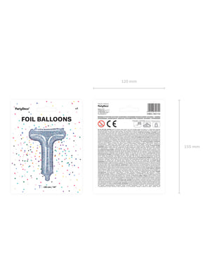 Brokatowy srebrny balon foliowy Litera T
