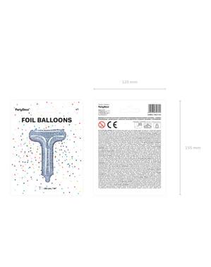 Fóliový balónek ve tvaru písmene T ve třpytivé stříbrné barvě