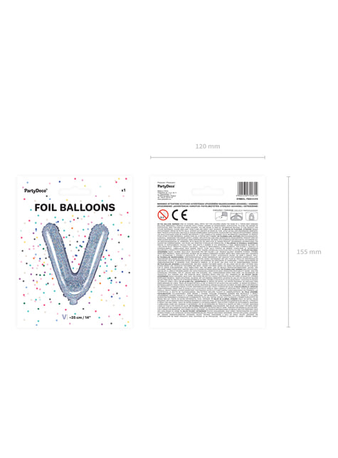 Globo foil letra V plateado con purpurina - para tus fiestas