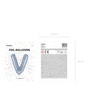Ballon aluminium lettre V argenté à paillettes
