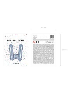 Fóliový balónek ve tvaru písmene W ve třpytivé stříbrné barvě