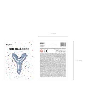Fóliový balónek ve tvaru písmene Y ve třpytivé stříbrné barvě