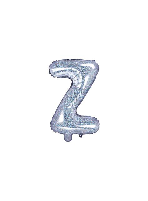 Globo foil letra Z plateado con purpurina