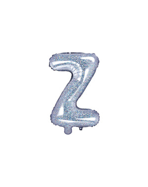 Balão foil letra Z prateado com purpurina