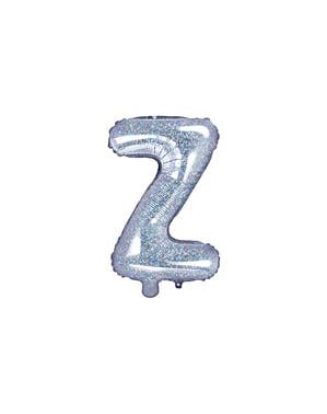 Letter Z Foil Balloon in Silver Glitter