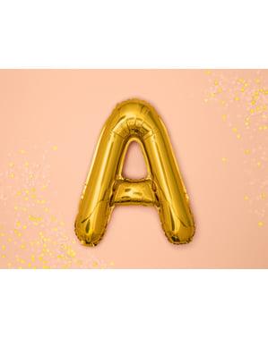 Złoty balon foliowy Litera A