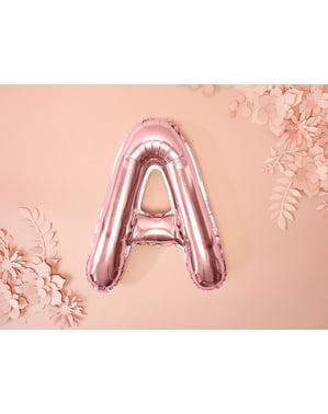 Balão em alumínio letra A rosa dourado  (35cm)