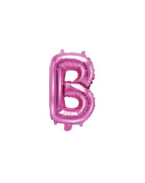 Letter B Foil Balloon in Donker Roze (35cm)