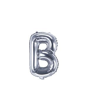 Srebrny balon foliowy Litera B (35cm)