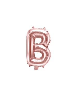 Balão em alumínio letra B rosa dourado  (35cm)