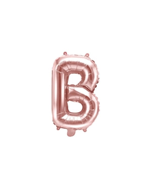 בלון בנייר האות B בזהב ורד