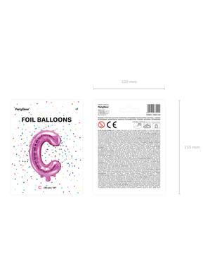 C-kirjaimen muotoinen foliopallo (tumma pinkki)