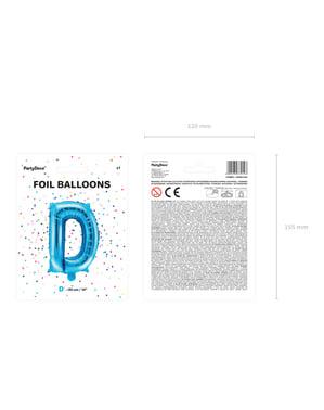 Niebieski balon foliowy Litera D