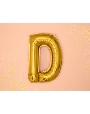 Letter D Foil Balloon in Gold