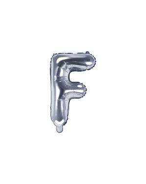 Srebrny balon foliowy Litera F (35cm)