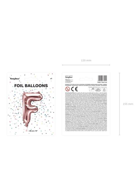 Globo foil letra F oro rosa - barato