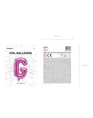 Ciemnoróżowy balon foliowy Litera G