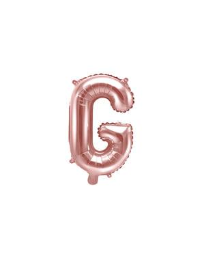 Balon folie litera G roz auriu