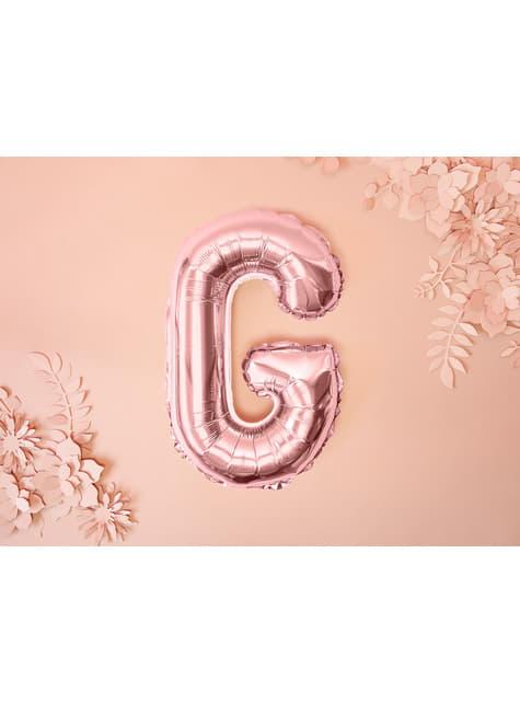 Globo foil letra G oro rosa - para tus fiestas