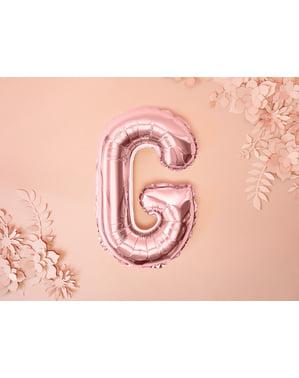 Balão em alumínio letra G rosa dourado