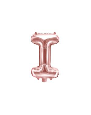 Balon folie litera I roz auriu