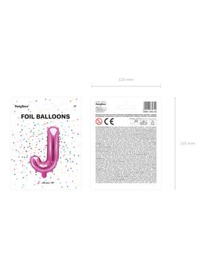 Ciemnoróżowy balon foliowy Litera J