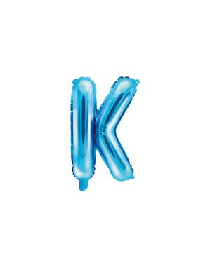 K-kirjaimen muotoinen foliopallo (sininen)