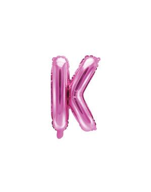 K-kirjaimen muotoinen foliopallo (tumma pinkki)