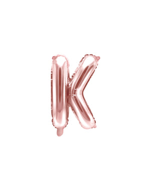 Letter K foil balloon in rose gold