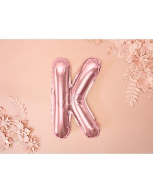 Globo foil letra K oro rosa