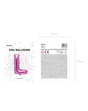 L-kirjaimen muotoinen foliopallo (tumma pinkki)