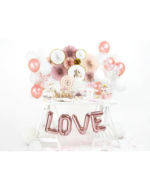 Balão em alumínio letra L rosa dourado