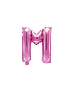 M-kirjaimen muotoinen foliopallo (tumma pinkki)