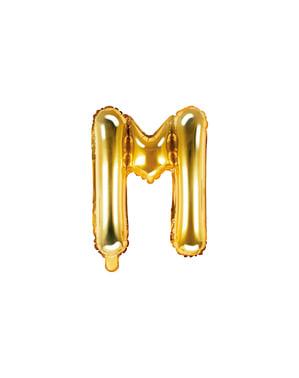 Letter M Foil Balloon in Goud