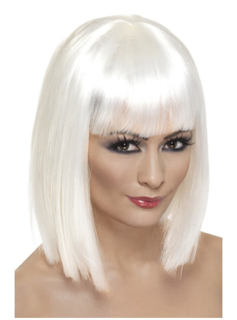 Short glamorous white wig for a woman