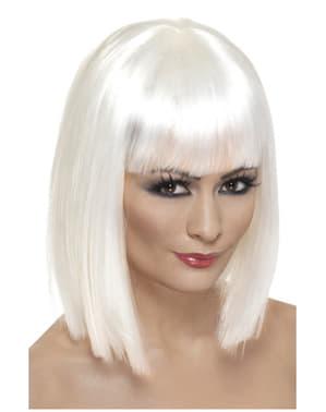 Hvid lige paryk med pandehår til kvinder