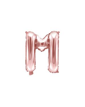 Písmeno M Fóliový balónik z ružového zlata