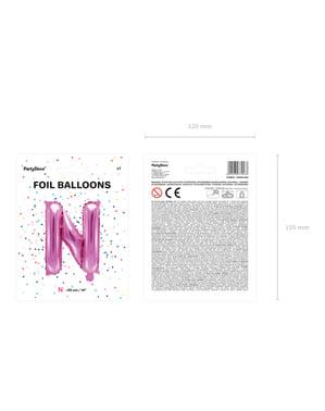 N-kirjaimen muotoinen foliopallo (tumma pinkki)